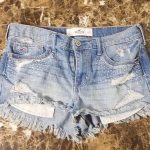 Hollistered Jeweled Distressed Jean Shorts